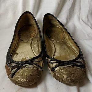 Coach Size 9 Ballet Flats Women's Shoes Patchwork